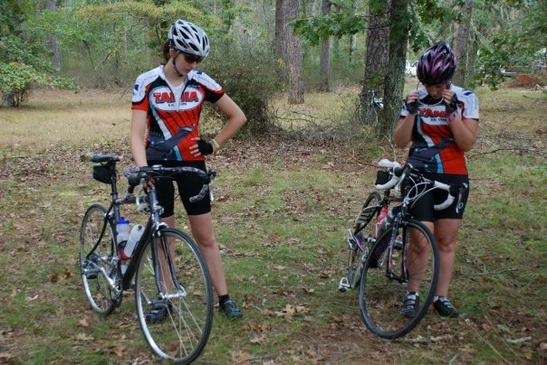 Jen (right) and I staring at the sandy ground with contempt. (c) 2009, Joe Hlatky